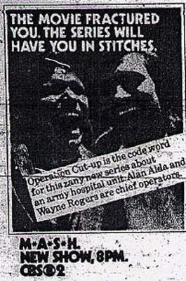 Scanned black-and-white image of a TV Guide advertisement for M*A*S*H featuring Alan Alda and Wayne Rogers
