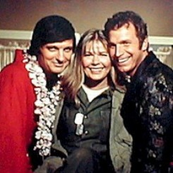 Color CBS promotional image for MASH featuring Alan Alda, Loretta Swit, and Wayne Rogers