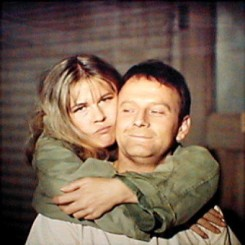 Color CBS promotional image for MASH featuring Loretta Swit and Larry Linville