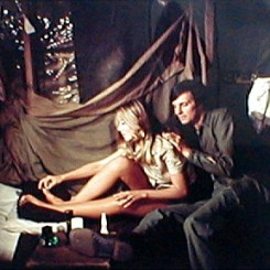 Color CBS promotional image for MASH featuring Karen Philipp and Alan Alda