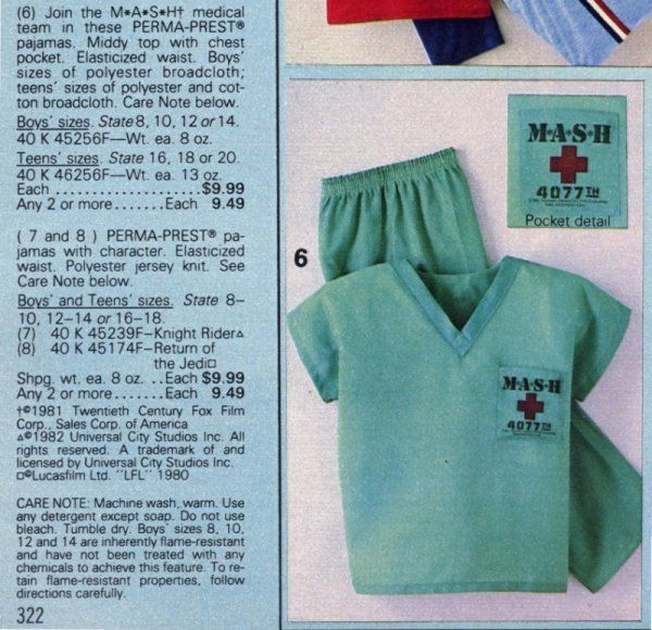 1984 Sears M*A*S*H Pajamas