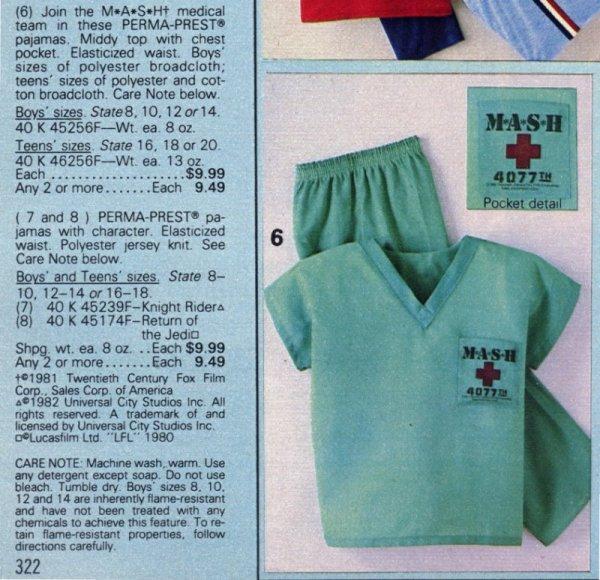 1984 Sears M A S H Pajamas - MASH4077TV.com 5574a8fb0