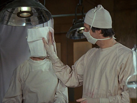 Still from the M*A*S*H episode Sticky Wicket showing Margaret and Hawkeye.