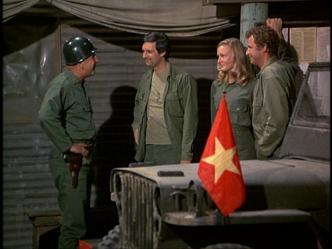 Still from the M*A*S*H episode For the Good of the Outfit showing General Clayton, Hawkeye, and Trapper
