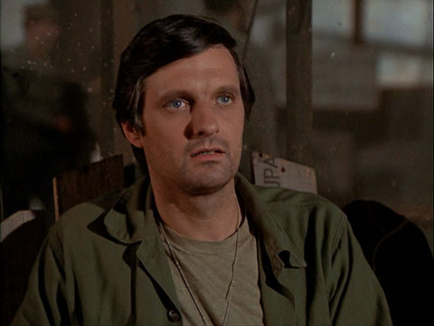 Still from the M*A*S*H episode Dear Dad Three showing Hawkeye.