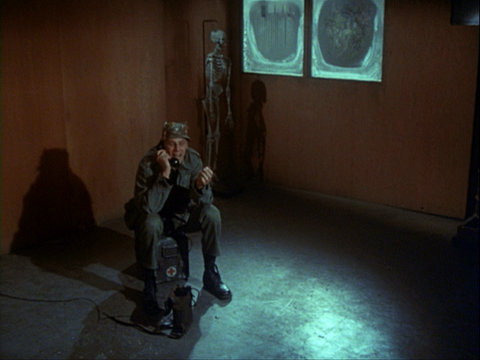 Still from the M*A*S*H episode Crisis showing Henry in his empty office.