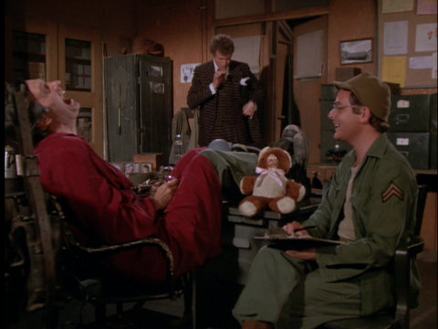 Still from the M*A*S*H episode Officer of the Day showing Hawkeye, Trapper, and Radar