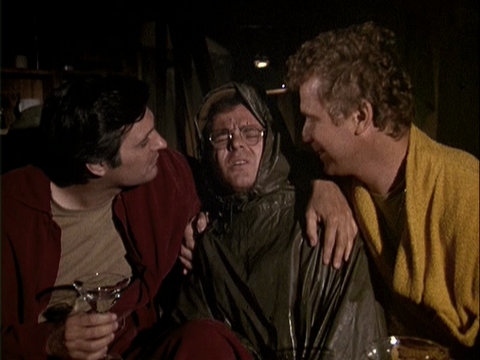 Still from the M*A*S*H episode Springtime showing Hawkeye, Radar, and Trapper.