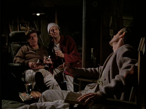 Still from the M*A*S*H episode Change of Command showing Colonel Potter, Hawkeye, and B.J.