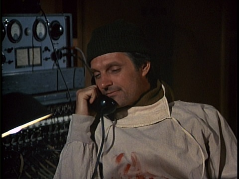 Still from the M*A*S*H episode The Late Captain Pierce showing Hawkeye.