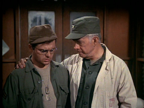 Still from the M*A*S*H episode The Price of Tomato Juice showing Radar and Colonel Potter