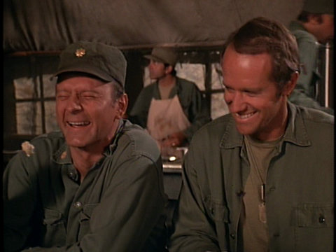 Still from the M*A*S*H episode Margaret's Engagement showing Frank and B.J. in the Mess Tent