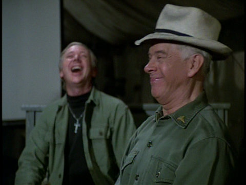 Still from the M*A*S*H episode Movie Tonight showing Father Mulcahy and Colonel Potter