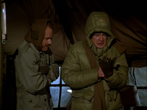 Still from the M*A*S*H episode Baby, It's Cold Outside showing B.J. and Charles