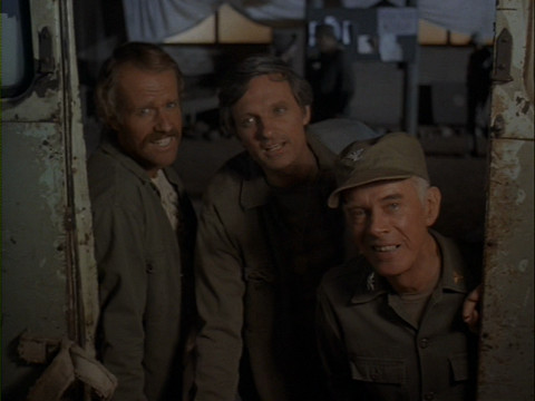 Still from the M*A*S*H episode Point of View showing B.J., Hawkeye, and Colonel Potter