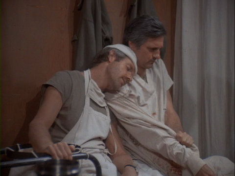 Still from the M*A*S*H episode BJ Papa San showing BJ and Hawkeye.