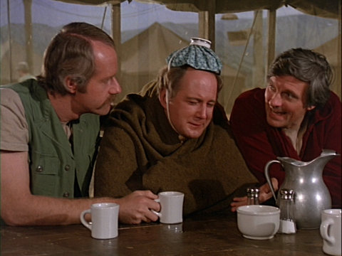 Still from the M*A*S*H episode The Young and the Restless showing BJ, Charles, and Hawkeye.