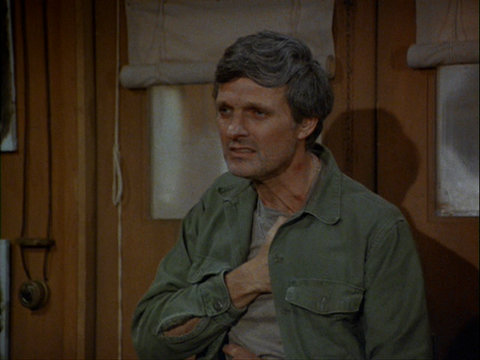 Still from the M*A*S*H episode Bless You, Hawkeye showing Hawkeye