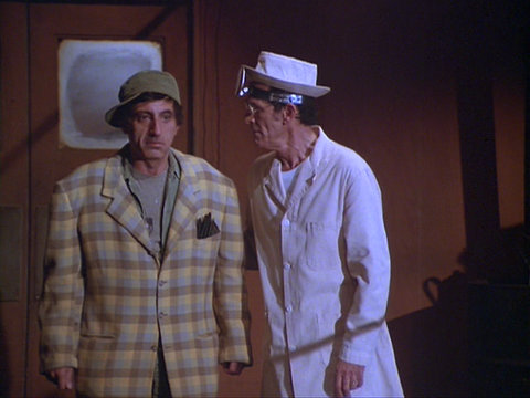 Still from the M*A*S*H episode That's Show Biz showing Klinger and Fast Eddie
