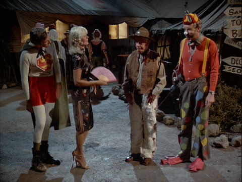 Still from the M*A*S*H episode Trick or Treatment showing Hawkeye, Margaret, Colonel Potter, and B.J.