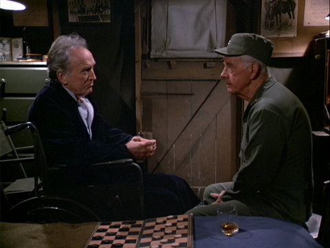 Still from the M*A*S*H episode Friends and Enemies showing Colonel Potter and Colonel Cooke