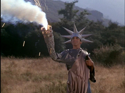 Klinger as the Statue of Liberty