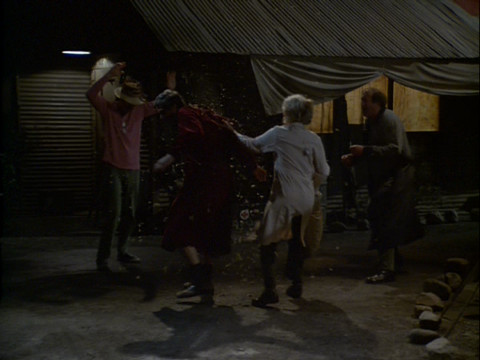 B.J., Hawkeye, Margaret and Charles outside in the dark