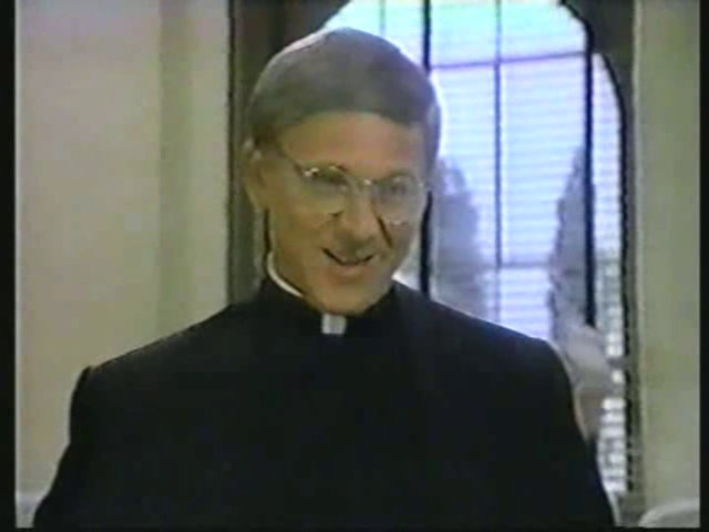 Still from the AfterMASH episode Snap, Crackle, Plop showing Father Mulcahy.