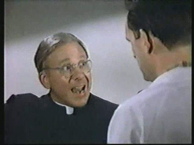 Still from the AfterMASH episode Little Broadcast of '53 showing Father Mulcahy.