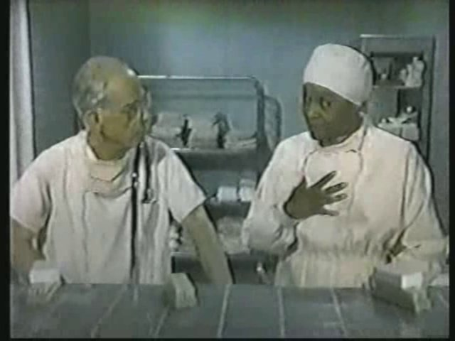 Still from the AfterMASH episode showing Potter and Nurse Angela John.