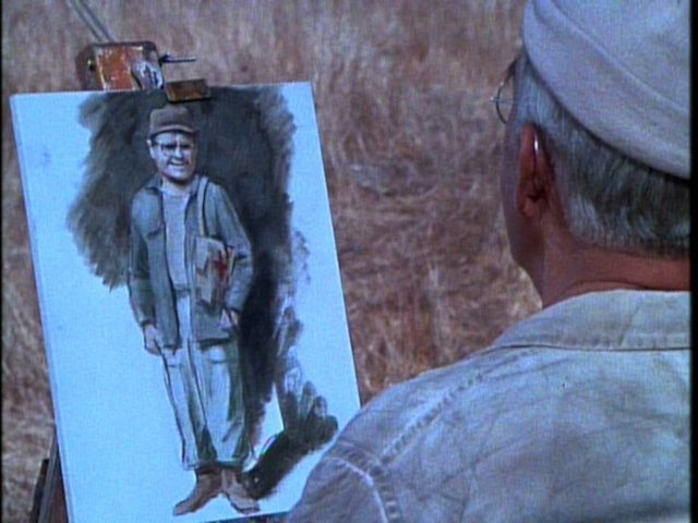 Still from the M*A*S*H episode The More I See You showing Potter's painting of Radar.