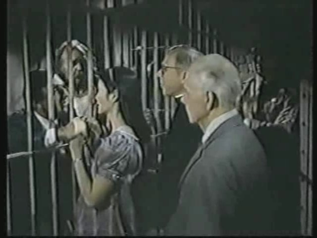 Still from the AfterMASH episode Up and Down Payments showing Klinger, Soon-Lee, Father Mulcahy, and Potter.
