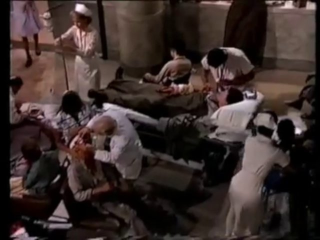 Still from the AfterMASH episode Wet Feet showing triage at General General