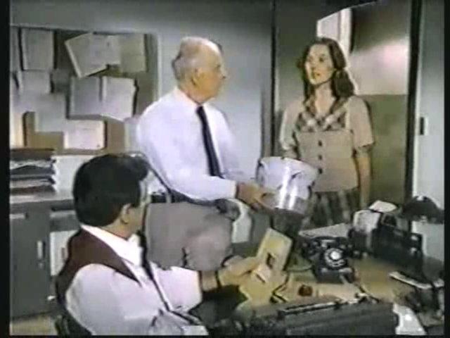 Still from the AfterMASH episode Klinger vs. Klinger showing Klinger, Potter, and Bonnie Hornbeck.