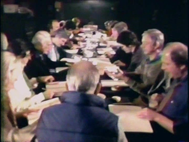 "Still from ""Making M*A*S*H"" (PBS, 1981) showing the table read for Lend a Hand."