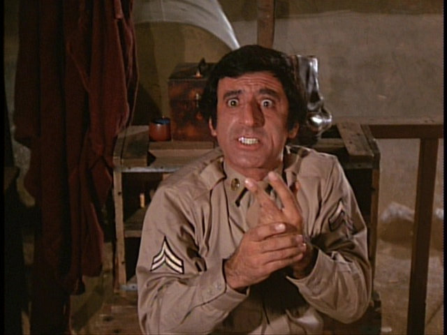 Still from the M*A*S*H episode Soldier of the Month showing Klinger.