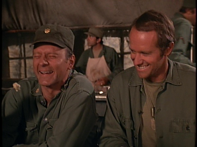 Still from the M*A*S*H episode Margaret's Engagement showing Frank and B.J.