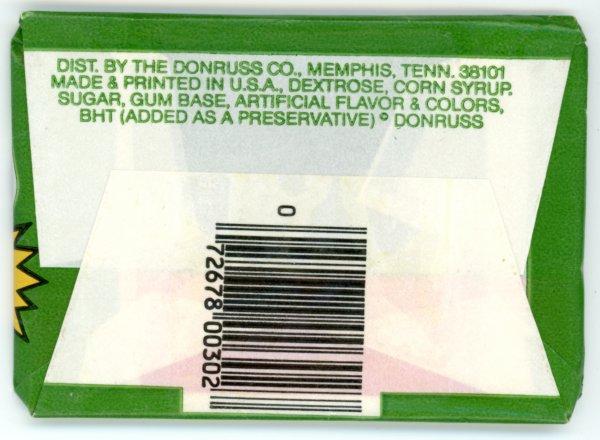 Scan of the back of a pack of 1982 Donruss M*A*S*H trading cards
