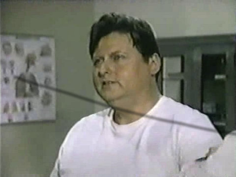 Still from the AfterMASH episode Bladder Day Saints showing Mickey Jones as Gorcey.