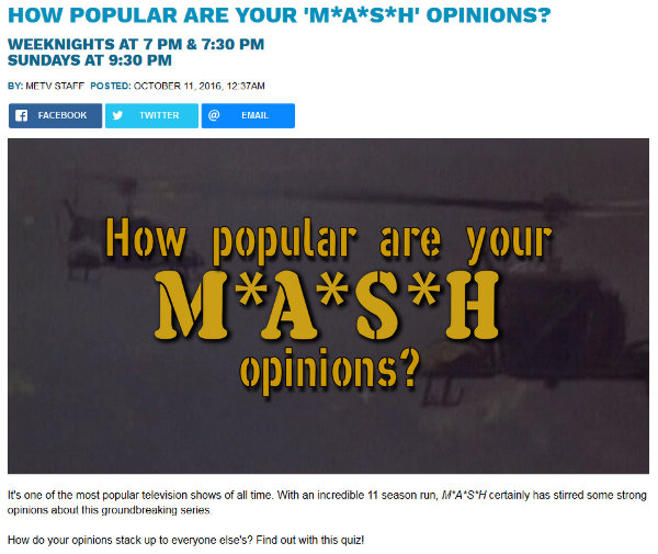 Screenshot of a new M*A*S*H quiz at the MeTV website.