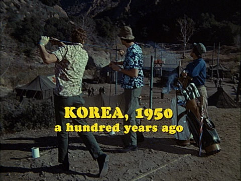 Still from the pilot episode of M*A*S*H showing Hawkeye, Trapper, and Ho-Jon.