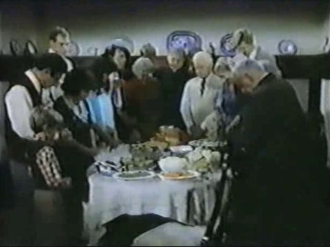 The cast of AfterMASH celebrates Thanksgiving.
