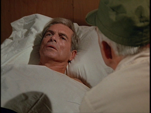 Still from the MASH episode Of Moose and Men showing Tim O'Connor as Colonel Spiker.