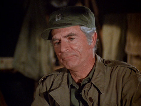 Still from the MASH episode Operation Friendship showing Tim O'Connor as Captain Norman Traeger