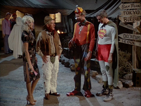 A still from the M*A*S*H episode Trick or Treatment showing several characters in Halloween costumes.
