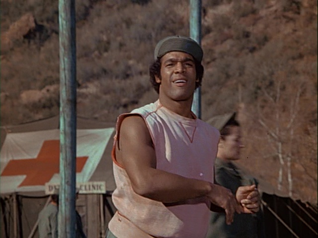 Still from the M*A*S*H episode M*A*S*H--The Pilot showing Timothy Brown.