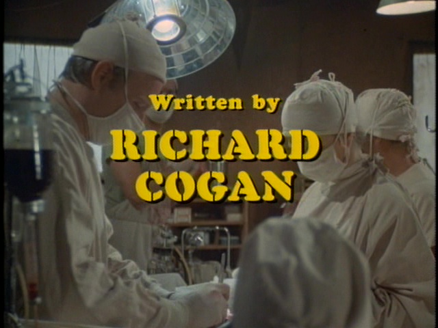 Still fromthe M*A*S*H episode Mulcahy's War showing the writing credit for Richard Cogan.