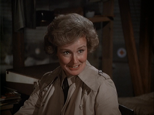 Still from the M*A*S*H episode Mr. and Mrs. Who? showing Claudette Nevins as Donna Marie Parker.