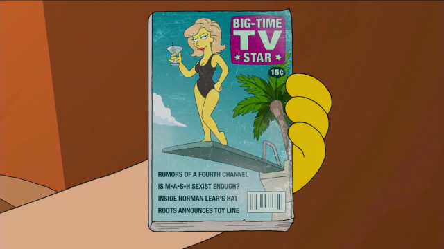 Screenshot from The Simpsons episode Podcast News showing a spoof TV Guide magazine with a M*A*S*H cover line.